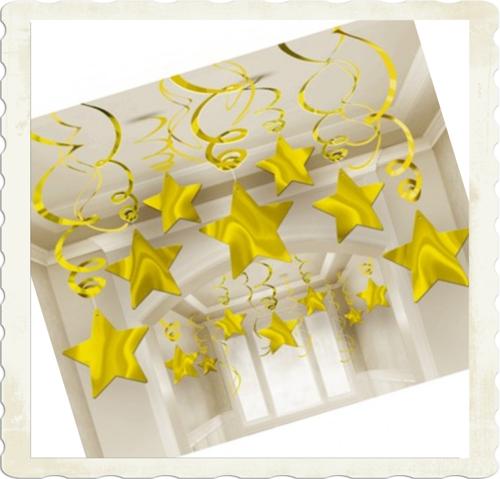Silvester Dekoration Swirls Sterne Wirbler in Gold