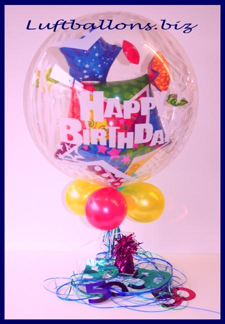 Dekoration zum 50. Geburtstag, Tischdekoration Bubble Luftballon mit Helium, Zahlen 50, Ballongewicht und Ringelband